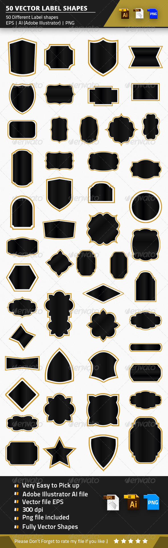 GraphicRiver 50 Vector Label Shapes 8535644