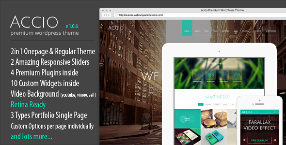 Accio One Page Parallax Responsive WordPress Theme - Portfolio Creative
