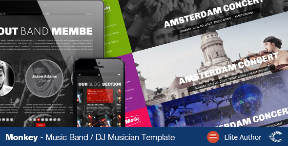Monkey Music Band PSD Theme - Entertainment PSD Templates