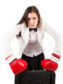Attractive angry business lady with red gloves fighting over white background - PhotoDune Item for Sale
