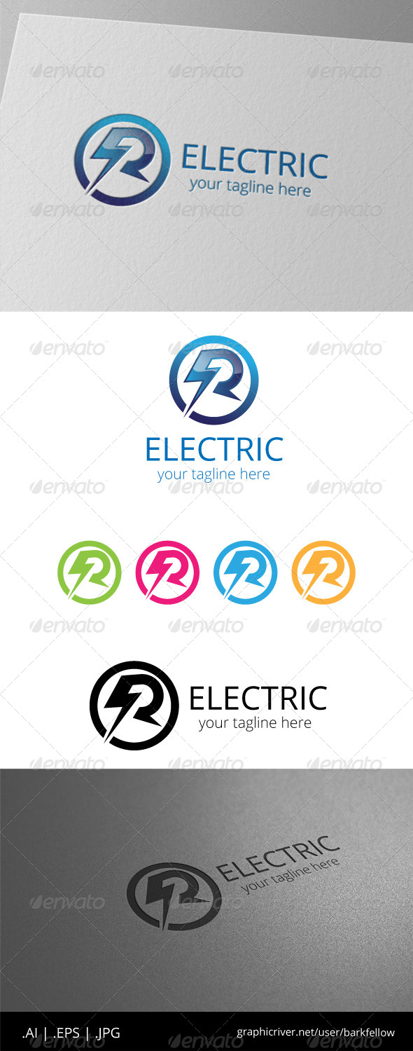 GraphicRiver R Electric Flash Power Energy Logo 8536435