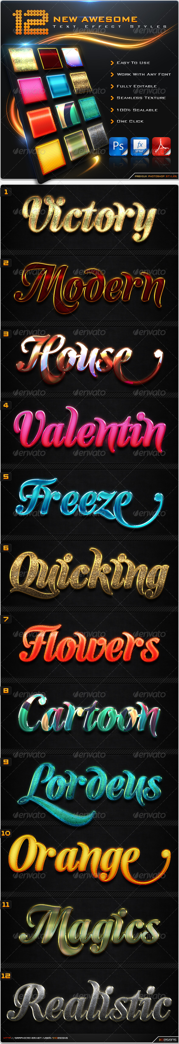 GraphicRiver 12 New Awesome Text Effect Styles 8536493