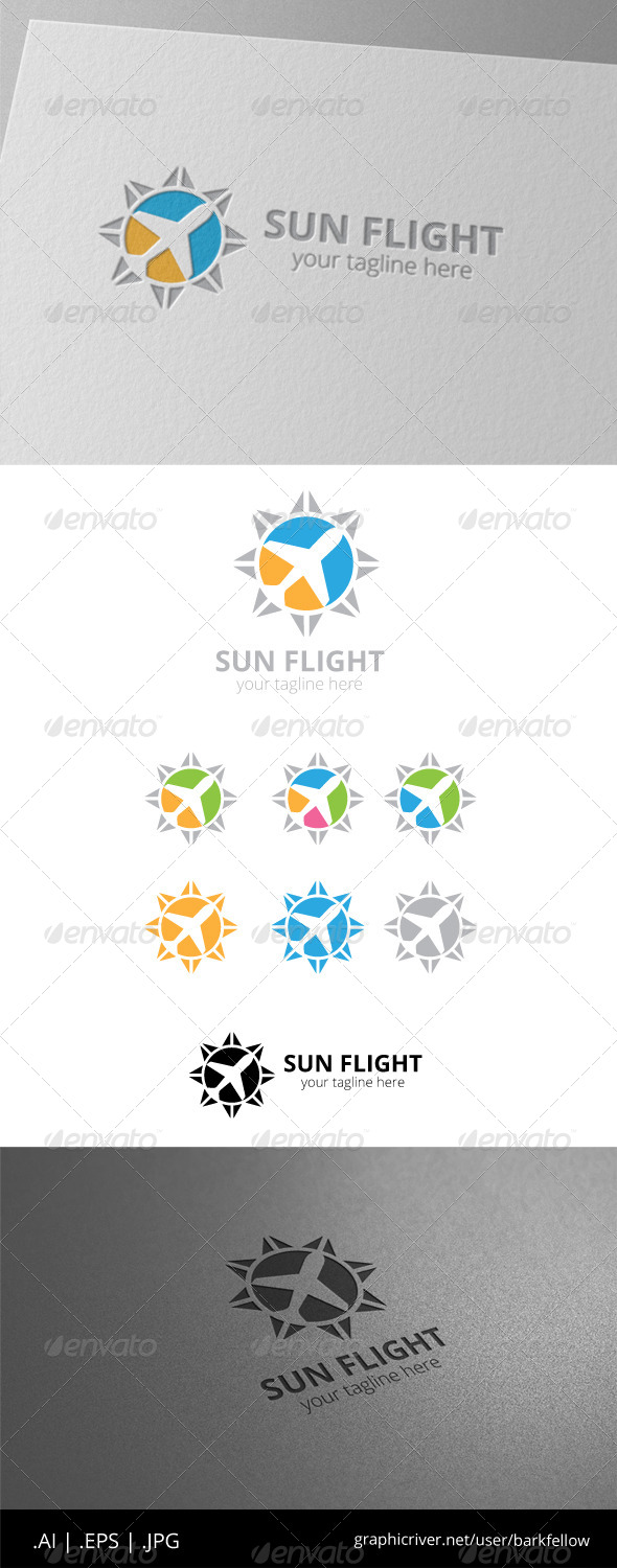 Sun Flight Plane Holiday Logo