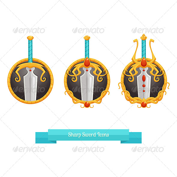 GraphicRiver Sharp Sword Icons 8536656