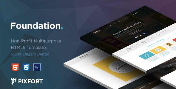 """Foundation"" is a Non-profit HTML template, includes a lots of features, clean & modern design, you can make a full working website in minutes w"