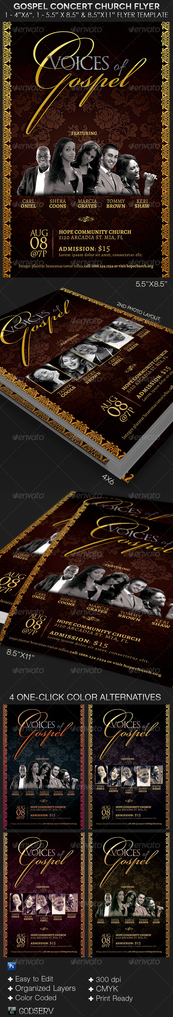 GraphicRiver Gospel Concert Church Flyer Template 8536681