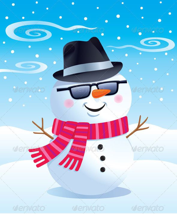 GraphicRiver Cool Snowman in a Fedora and Sunglasses 8536858