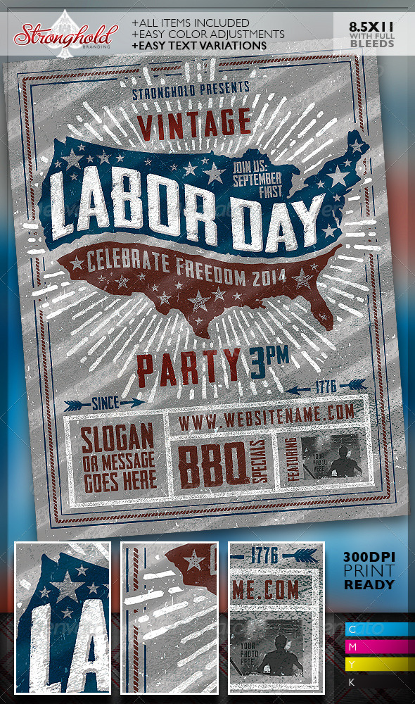 GraphicRiver Vintage Labor Day Woodcut Flyer Template 8536961