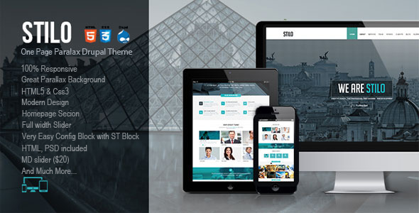 ThemeForest Stilo One Page Drupal Theme 8537110