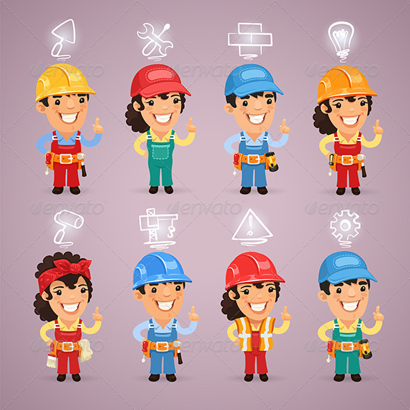 GraphicRiver Builders with Icons Set 8535379