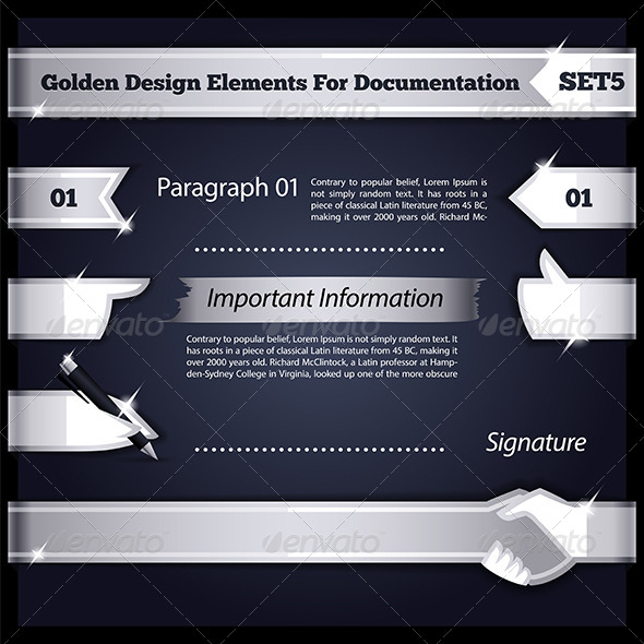 GraphicRiver Silver Design Elements For Documentation Set5 8535359