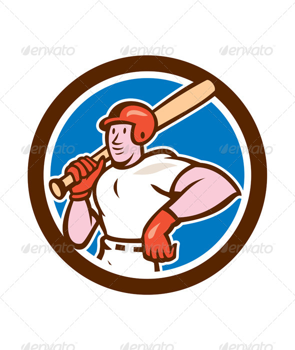 GraphicRiver Baseball Player Holding Bat Cartoon 8537584