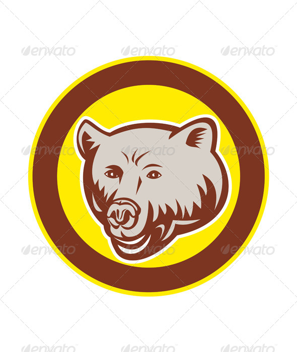 GraphicRiver Grizzly Bear Head Circle Retro 8537591