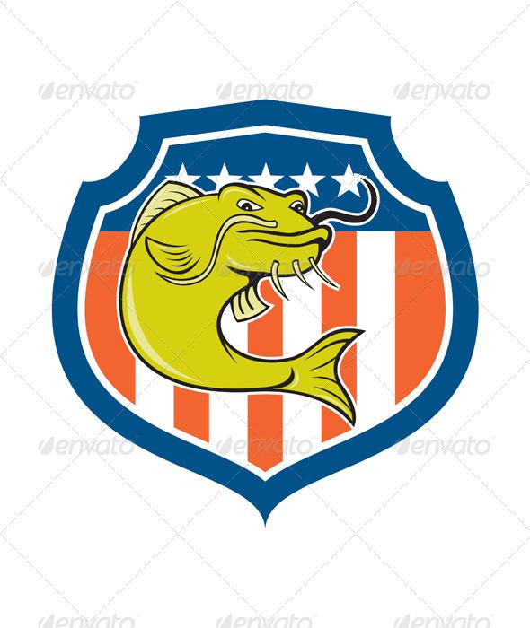 GraphicRiver Catfish Angryfish Shield Cartoon 8537633