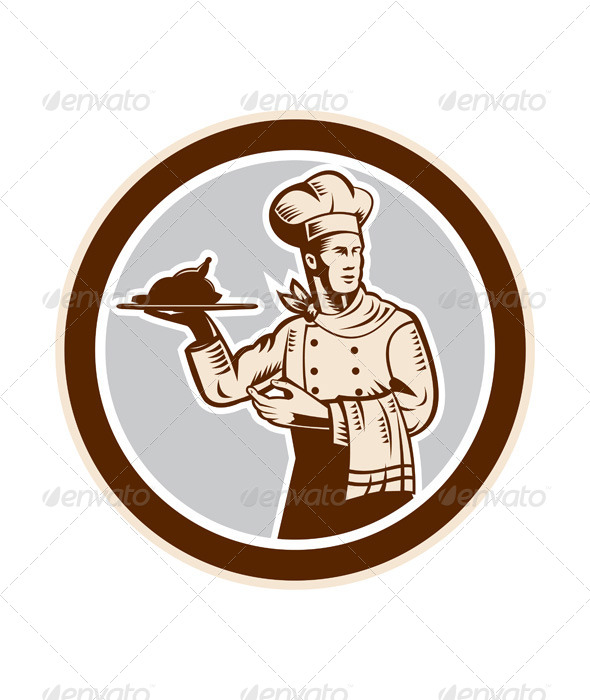 GraphicRiver Chef Cook Serving Food Platter Circle Retro 8537635