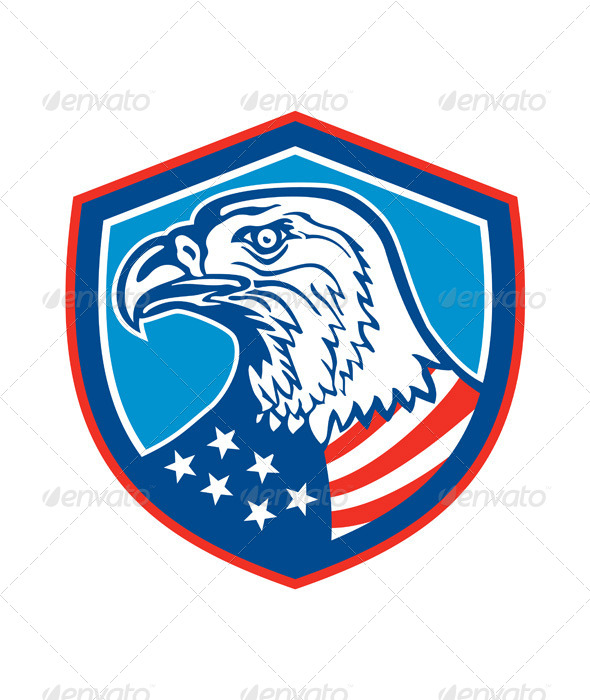 GraphicRiver American Bald Eagle Head Shield Retro 8537641