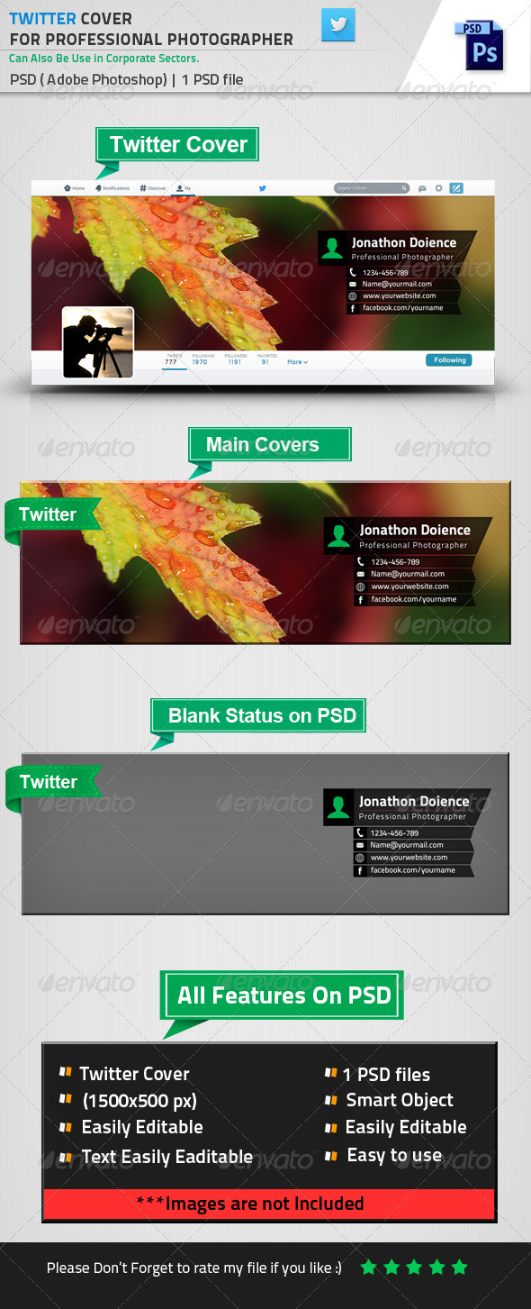 GraphicRiver Twitter Cover Photo For Photographer 8537643