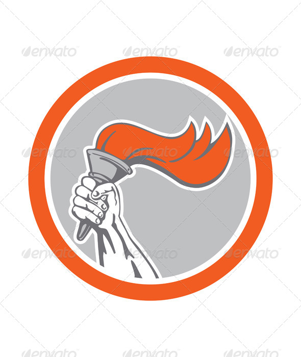 GraphicRiver Hand Holding Flaming Torch Circle Retro 8537646