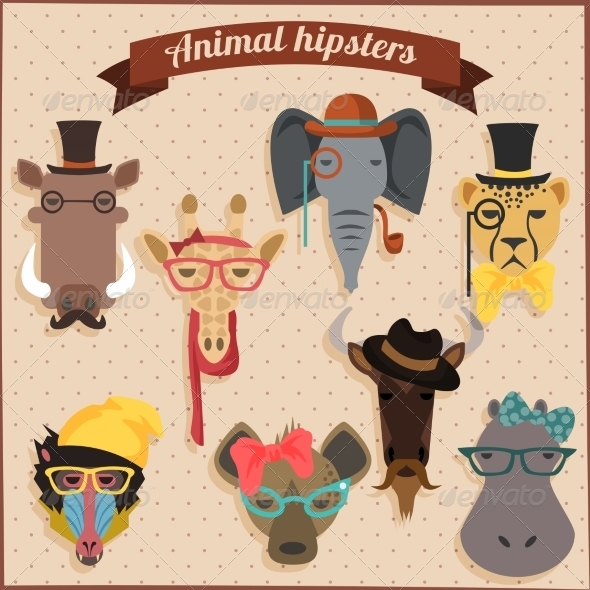 GraphicRiver Hipster African Animals 8537676