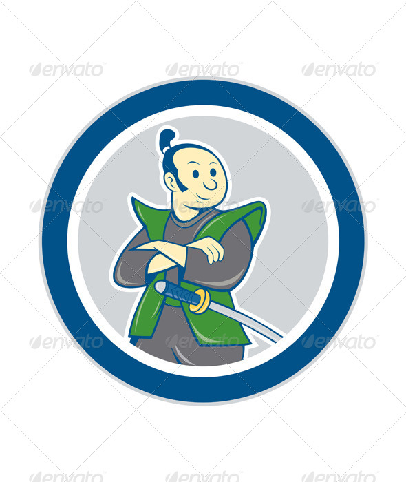 GraphicRiver Samurai Warrior Arms Folded Circle Cartoon 8537794