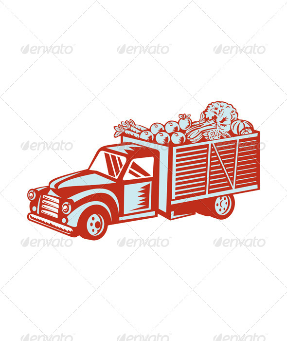 GraphicRiver Vintage Pickup Truck Delivery Harvest Retro 8537810