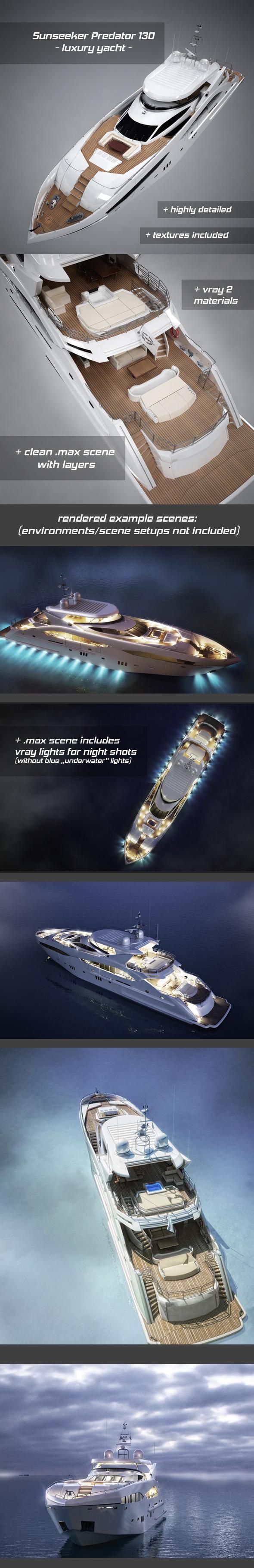 3DOcean Sunseeker Predator 130 luxury yacht 8533534