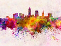 Cleveland skyline in watercolor background - PhotoDune Item for Sale