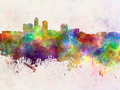 Des Moines skyline in watercolor background - PhotoDune Item for Sale