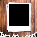 blank photo frame on brown wood plank background - PhotoDune Item for Sale