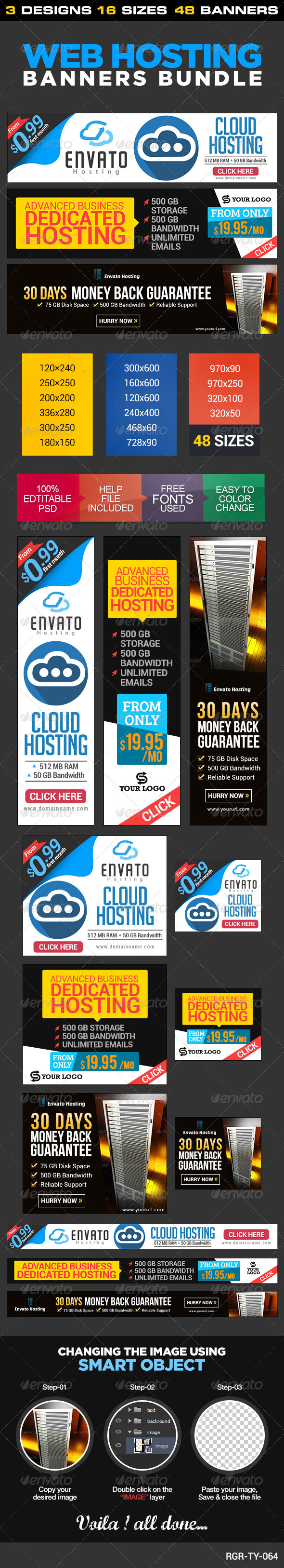 GraphicRiver Web Hosting Banner Bundle 3 sets 8539606