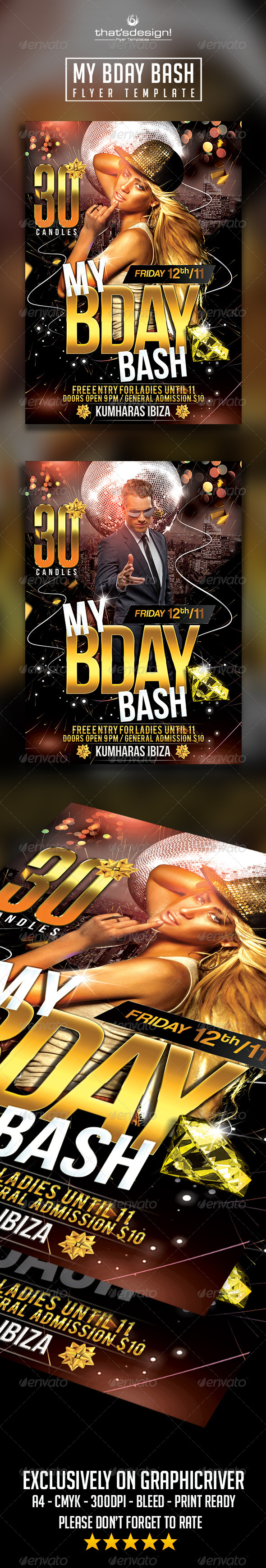 GraphicRiver My Birthday Bash Flyer Template 8539746