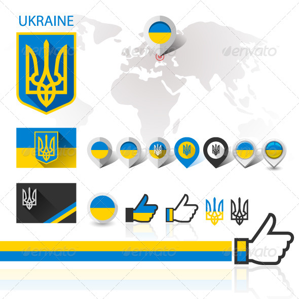 GraphicRiver Flag and Coat of Arms Ukraine with World map 8539860