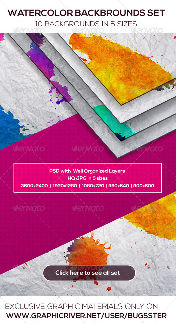 GraphicRiver Watercolor Backgrounds Set 8539582