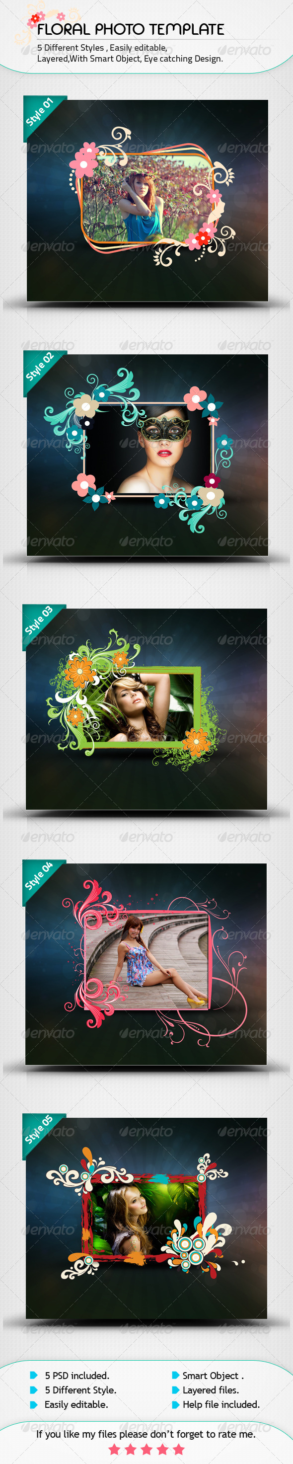 GraphicRiver Floral Photo Template 8540077