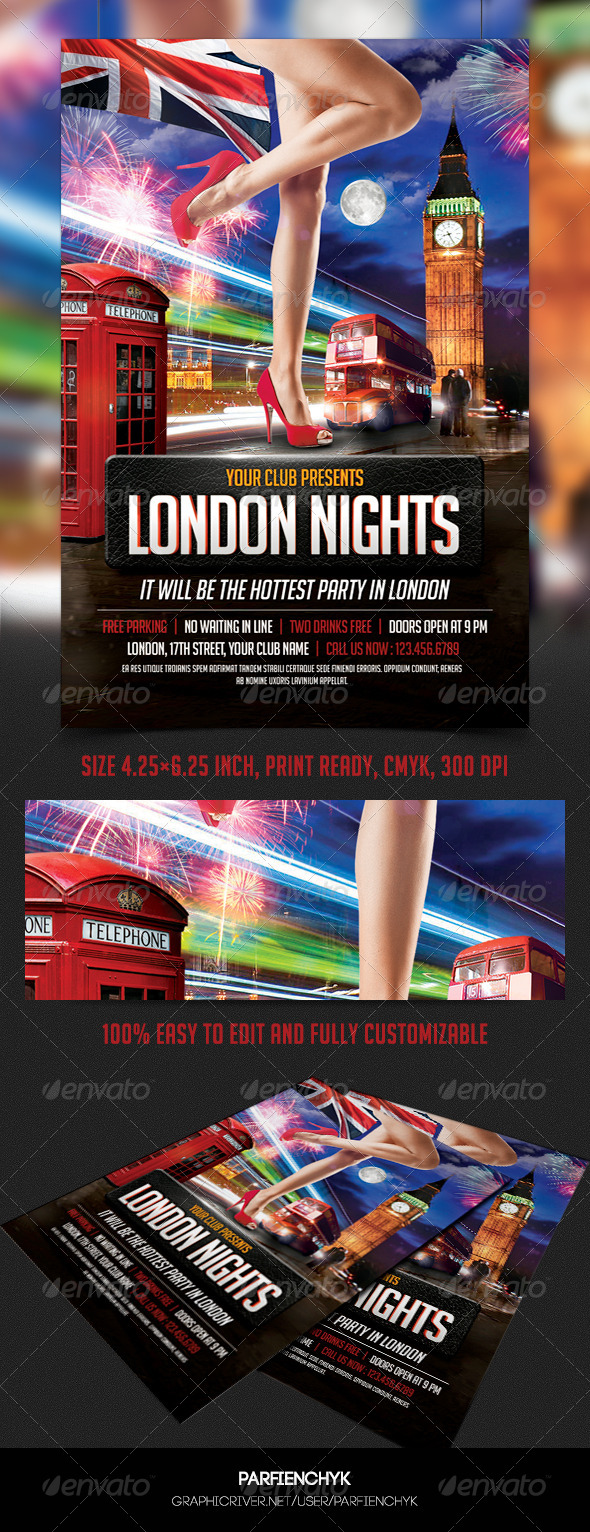 GraphicRiver London Nights Party Flyer Template 8540178