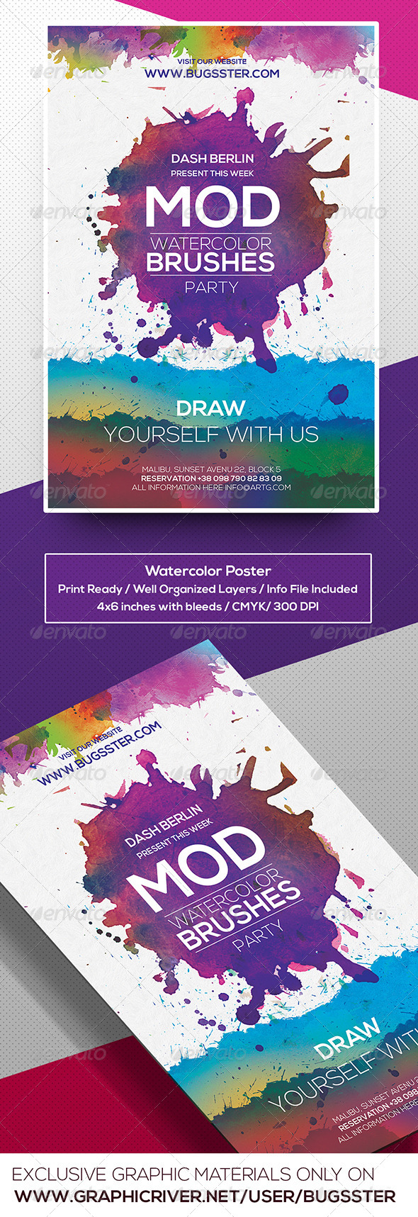 GraphicRiver Watercolor Flyer Poster Template 8540291