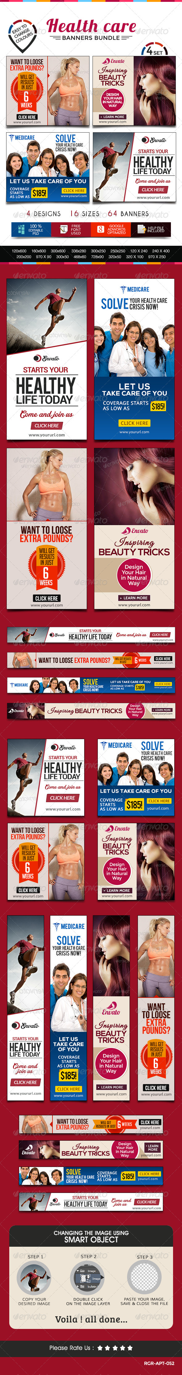 GraphicRiver Health Care Banner Bundle 4 Sets 8540564