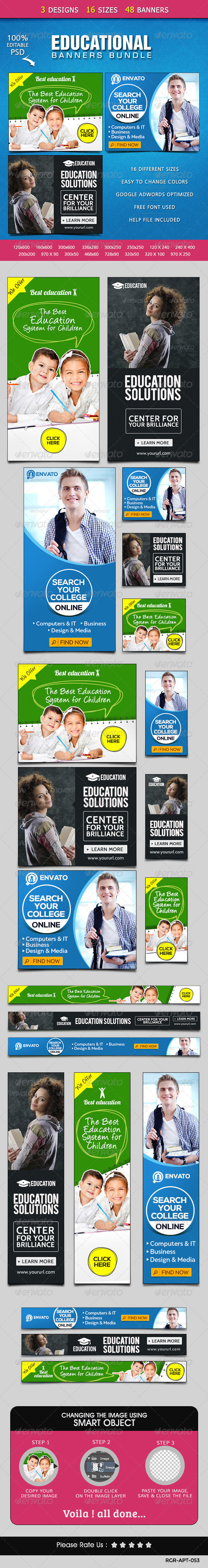 GraphicRiver Education Banners Bundle 3 Sets 8540600