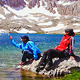 Lake in Mountain and Tourist Girls - VideoHive Item for Sale