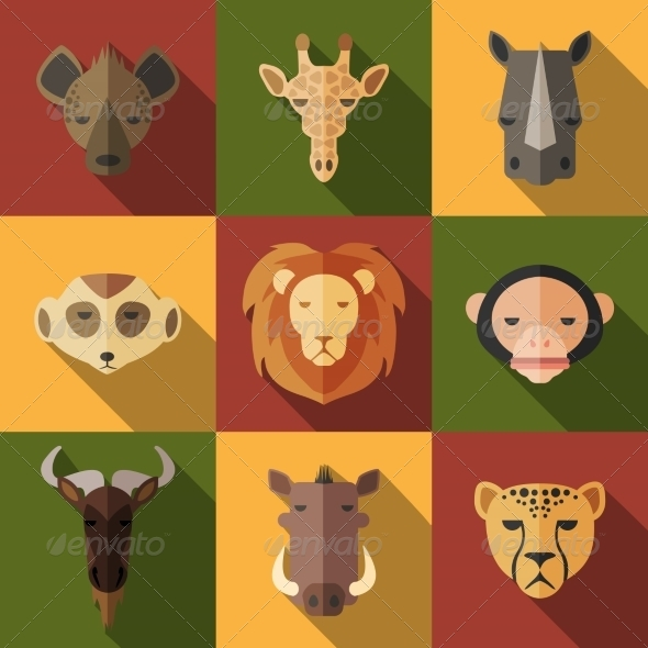 GraphicRiver Animal Portrait Set with Flat Design 8541158