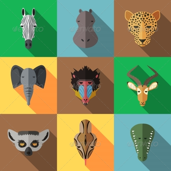 GraphicRiver Animal Portrait Set with Flat Design 8541159