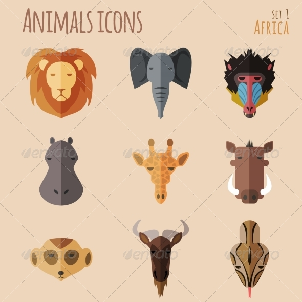 GraphicRiver African Animal Portrait Set with Flat Design 8541160