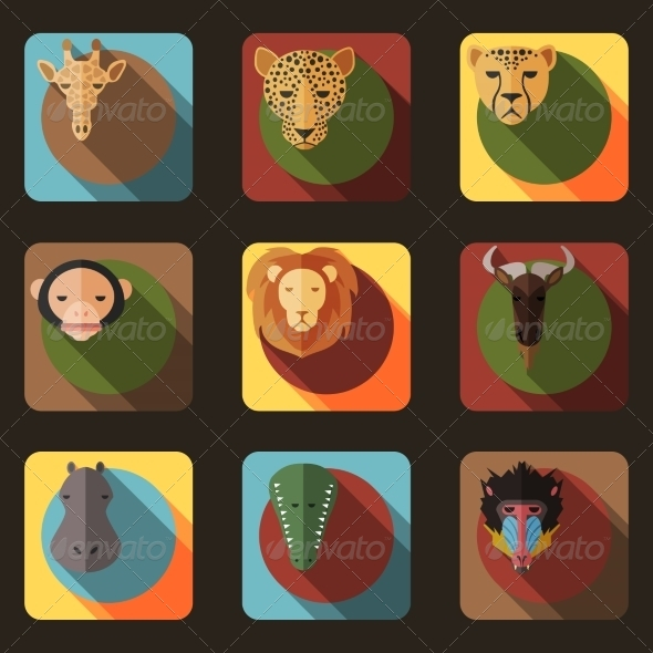 GraphicRiver Animal Portrait Set with Flat Design 8541161