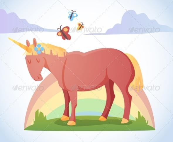 GraphicRiver Cartoon Magic Unicorn 8541169