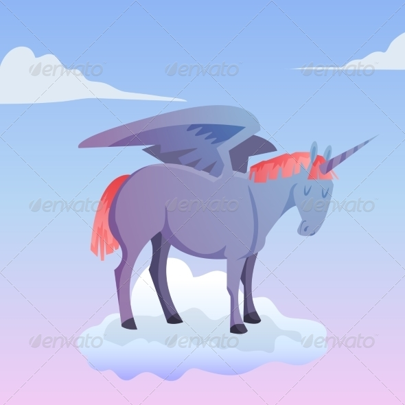 GraphicRiver Cartoon Magic Unicorn Pegasus 8541170