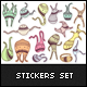 Monster Family Stickers Set