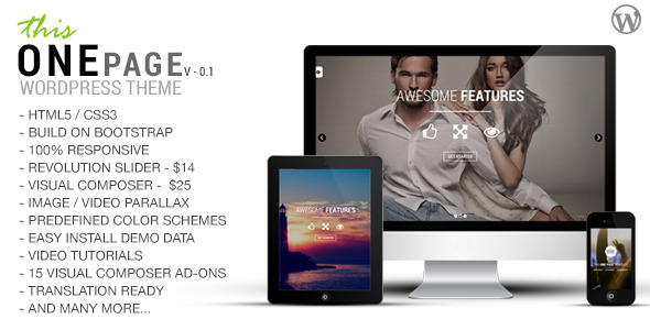 ThemeForest This One One Page Responsive Wordpress Theme 8501169