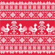 Ukrainian Slavic Folk Art Knitted Red Pattern