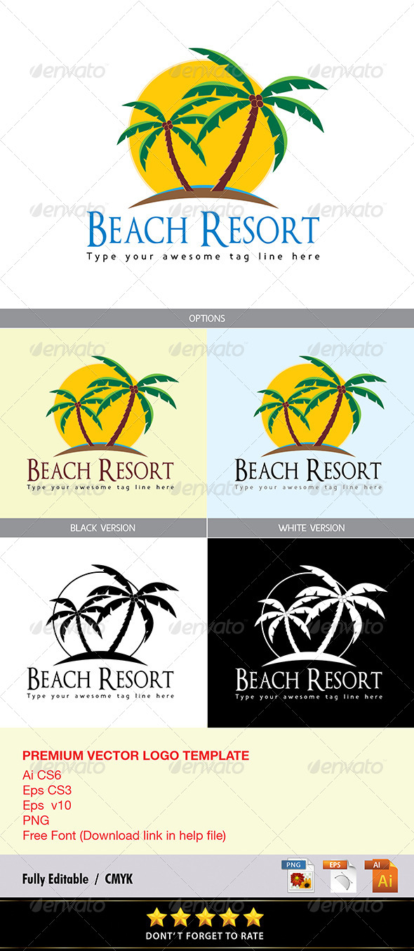 GraphicRiver Beach Resort Logo 8536634