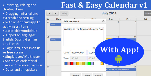 CodeCanyon Fast & Easy Calendar with app 8498020